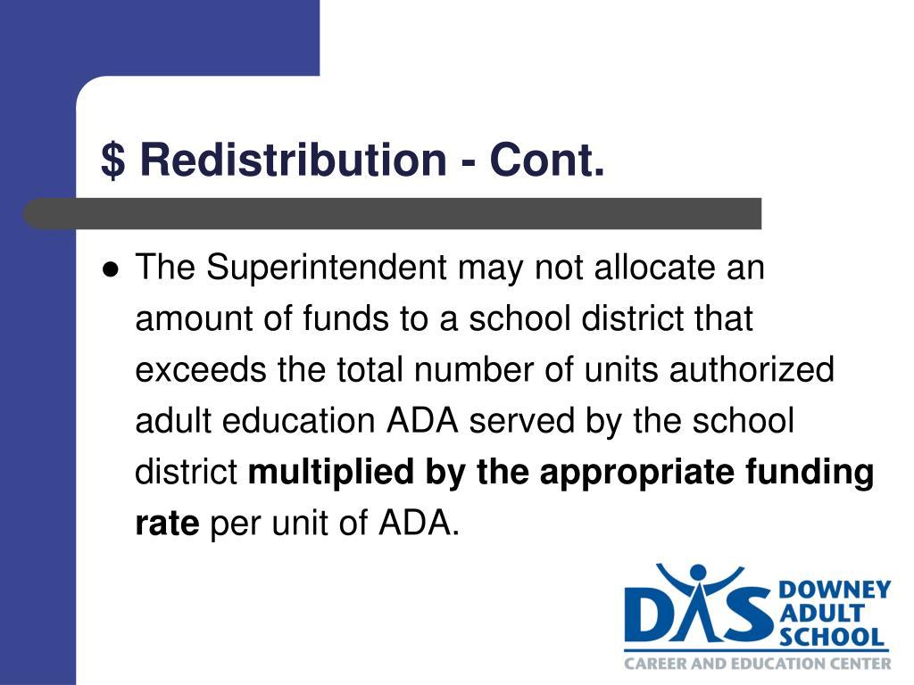 $ Redistribution - Cont.