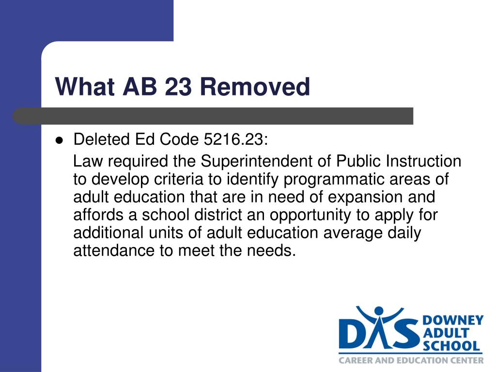 What AB 23 Removed