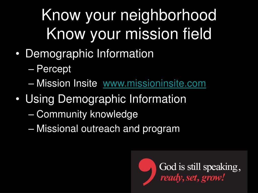 Know your neighborhood