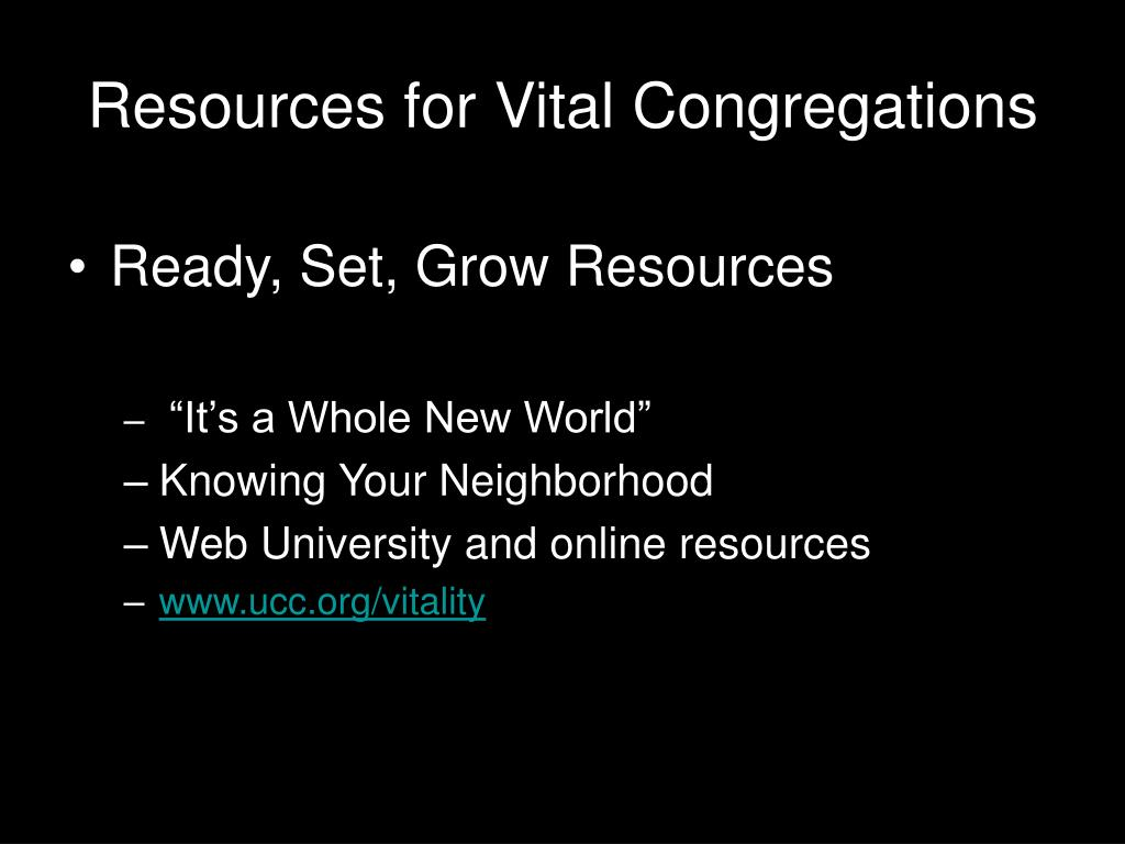 Resources for Vital Congregations