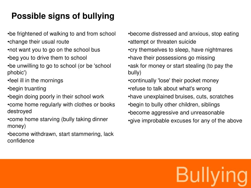 Possible signs of bullying