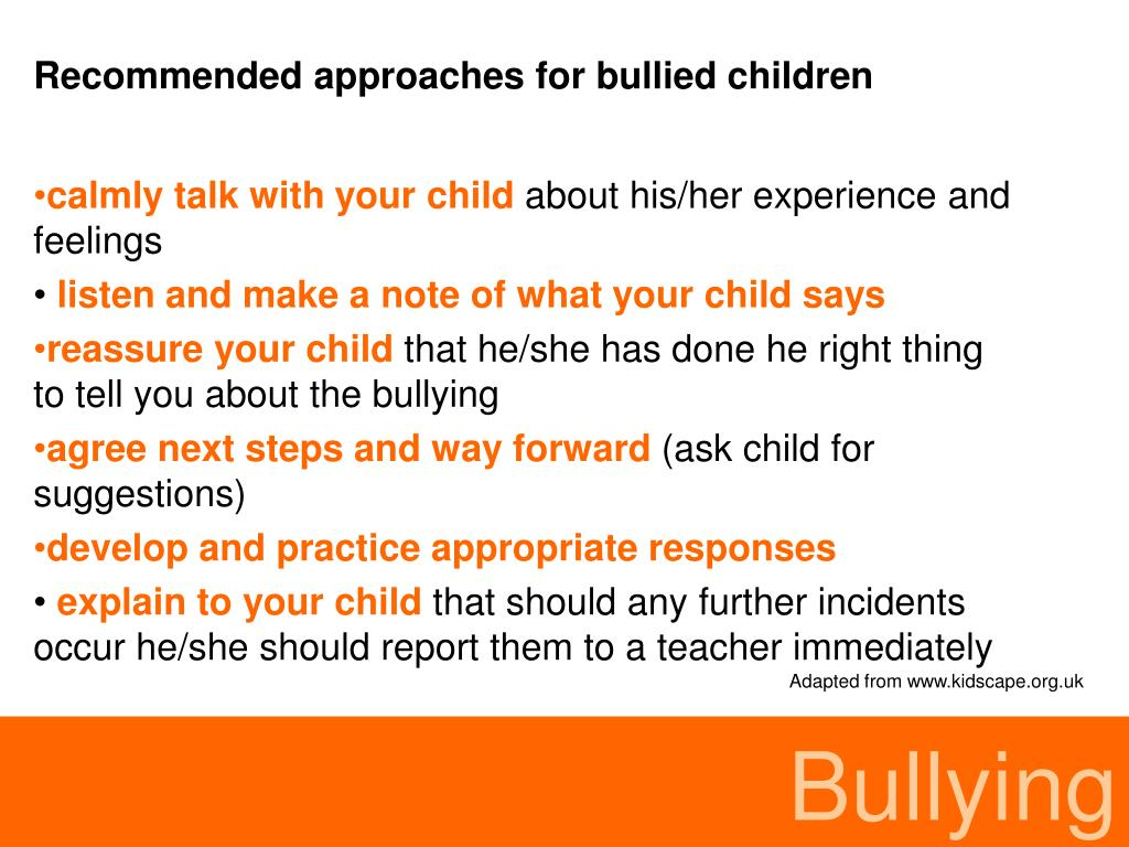 Recommended approaches for bullied children