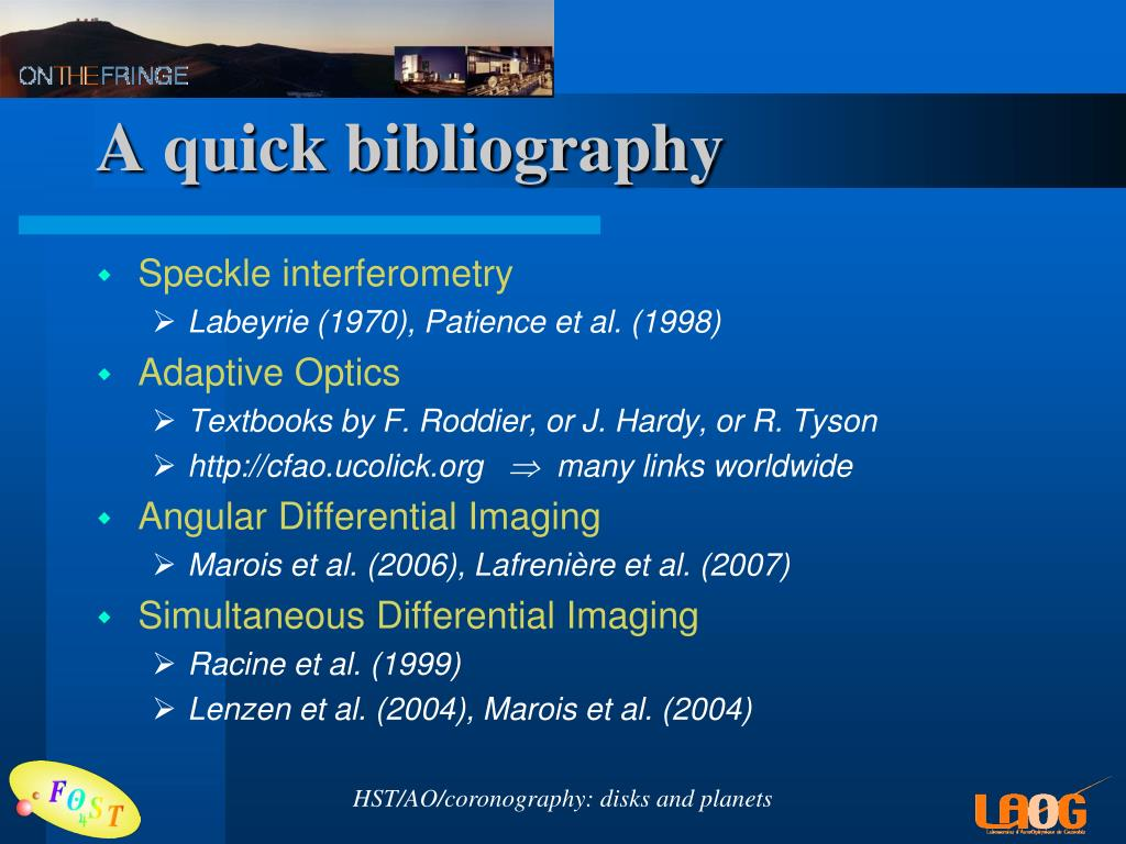 A quick bibliography