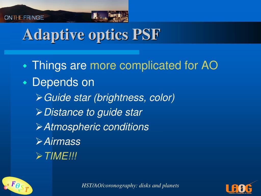 Adaptive optics PSF