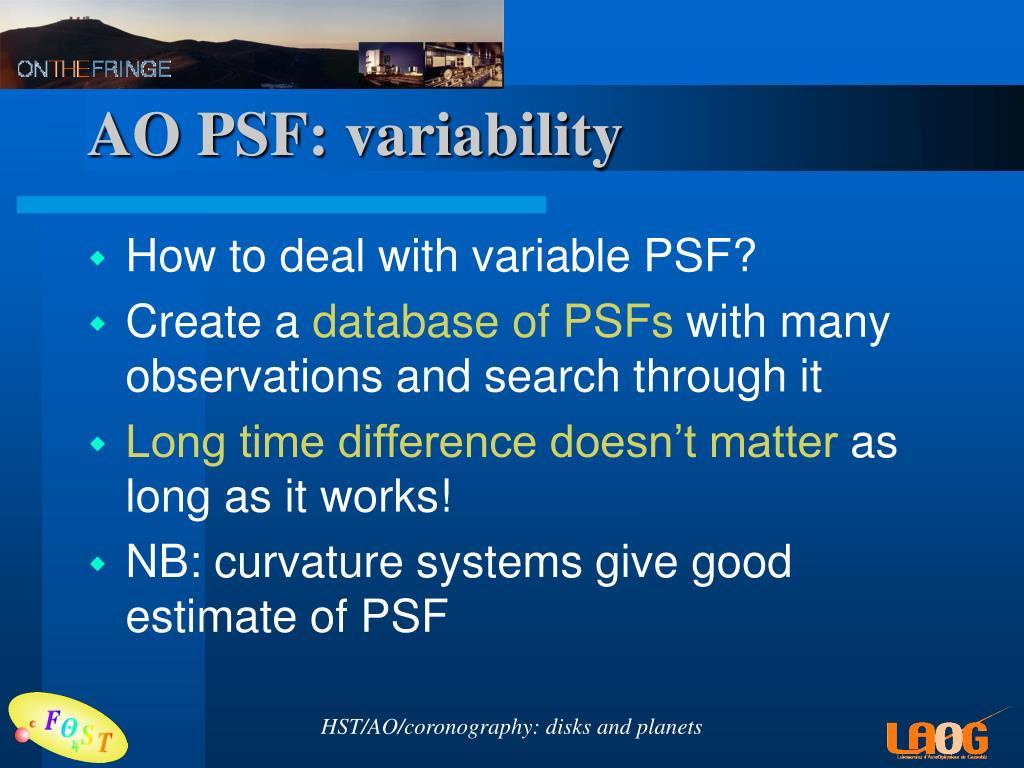 AO PSF: variability