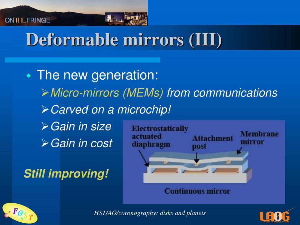 Deformable mirrors (III)