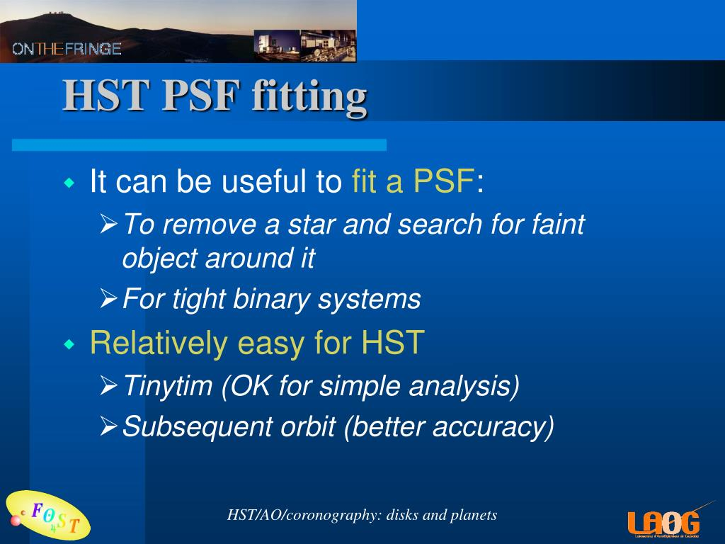 HST PSF fitting