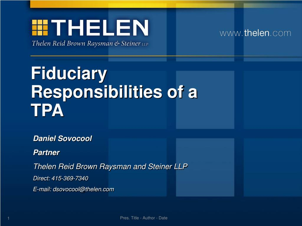 fiduciary responsibilities of a tpa