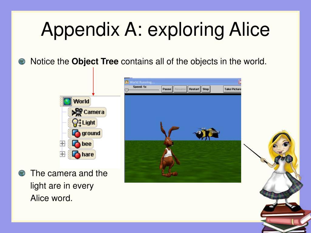 Appendix A: exploring Alice