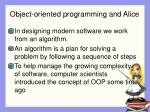 object oriented programming and alice