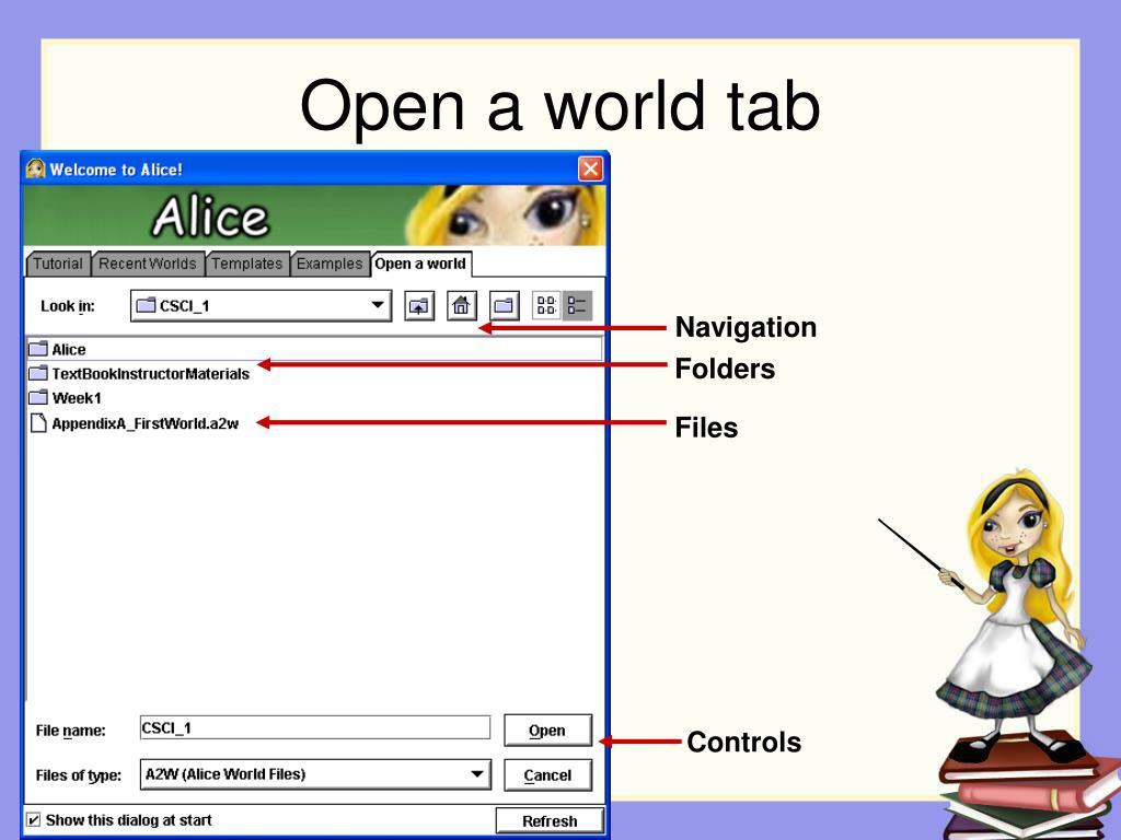 Open a world tab