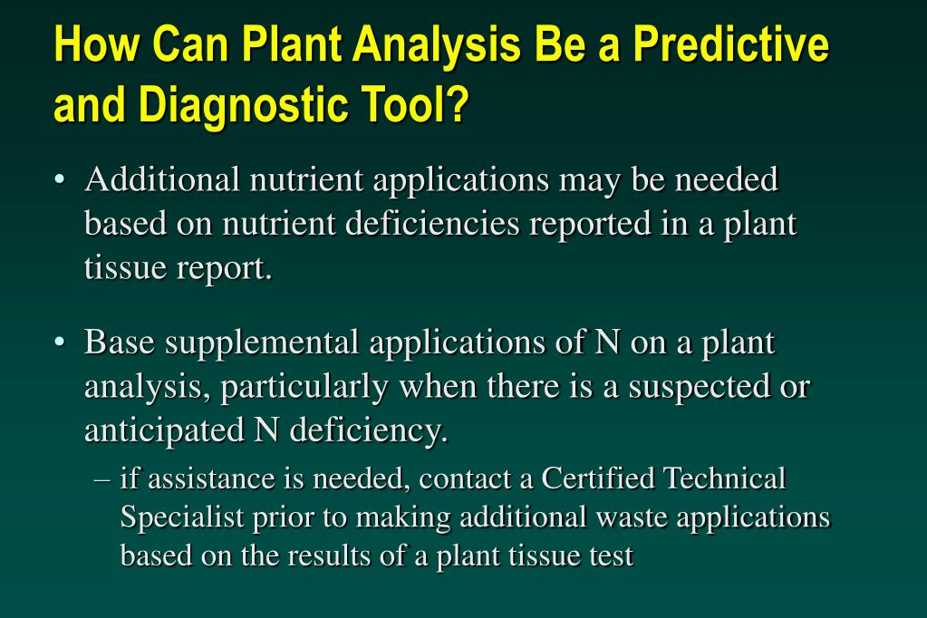 How Can Plant Analysis Be a Predictive and Diagnostic Tool?