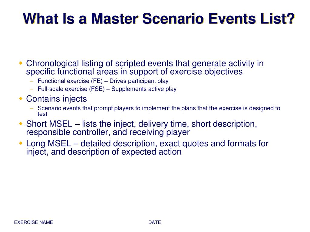 What Is a Master Scenario Events List?
