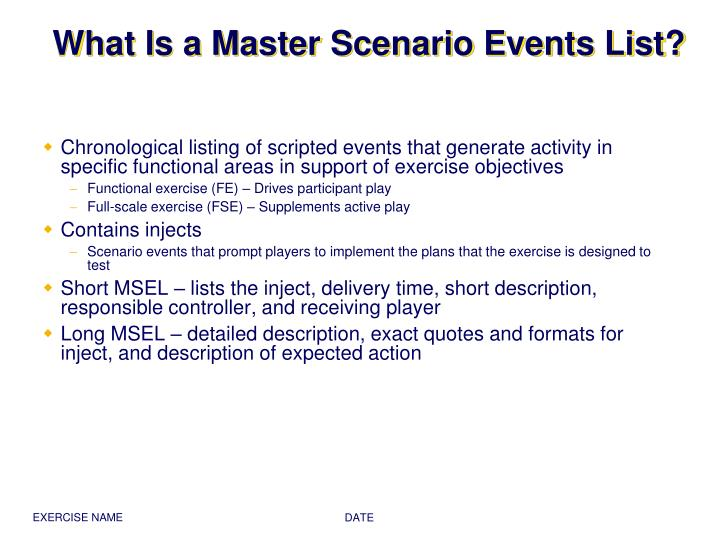 What is a master scenario events list