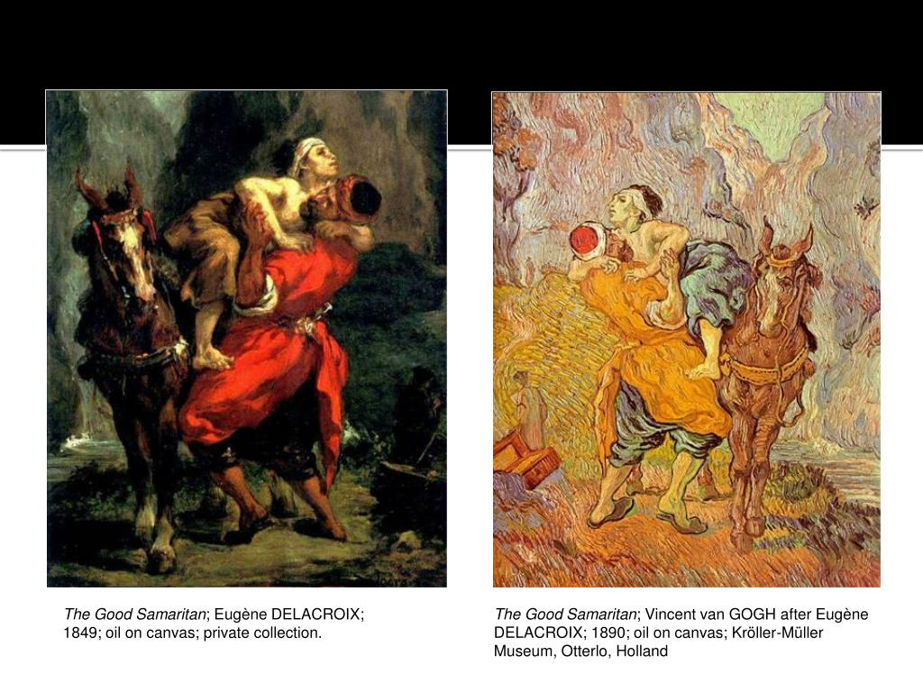 Van Gogh creates his own version of DeLaCroix famous painting. The victim is like a child.