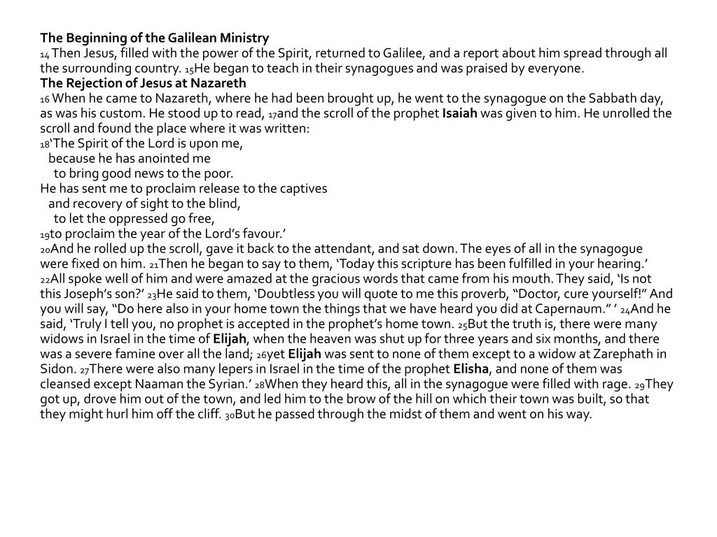 The Beginning of the Galilean Ministry