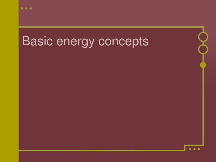 Basic energy concepts