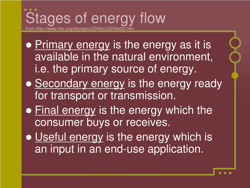 Stages of energy flow