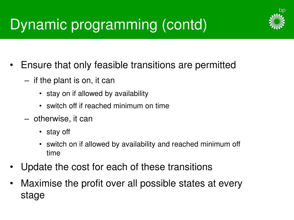 Dynamic programming (contd)