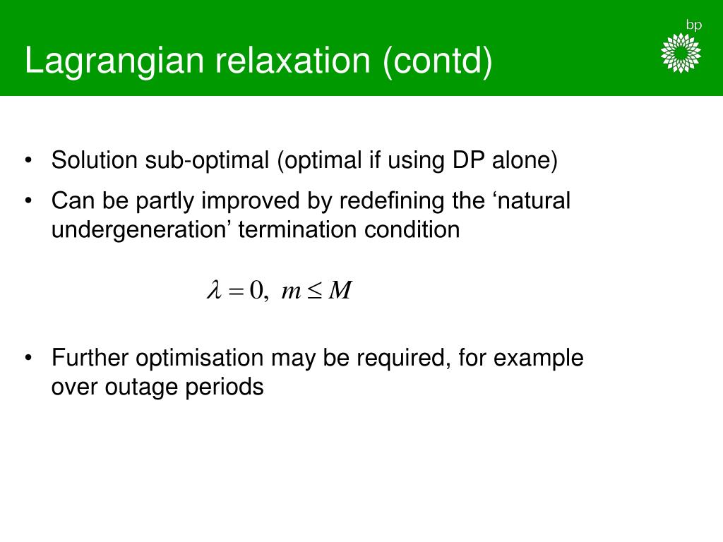 Lagrangian relaxation (contd)