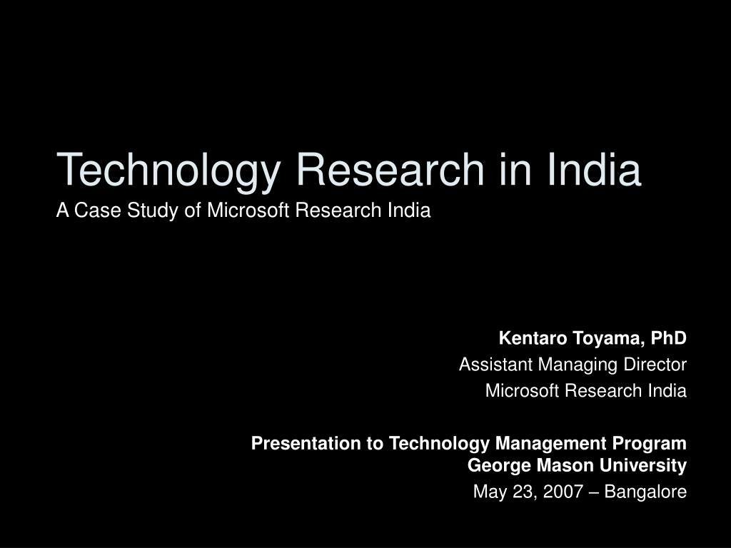 technology research in india l.