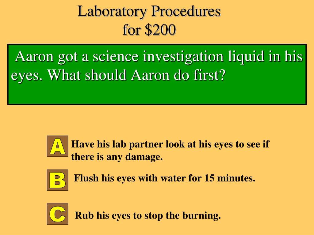 Laboratory Procedures for $200