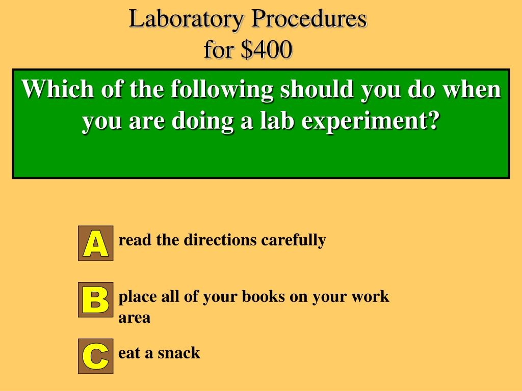 Laboratory Procedures for $400