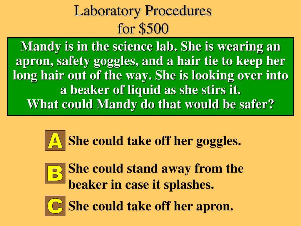 Laboratory Procedures for $500