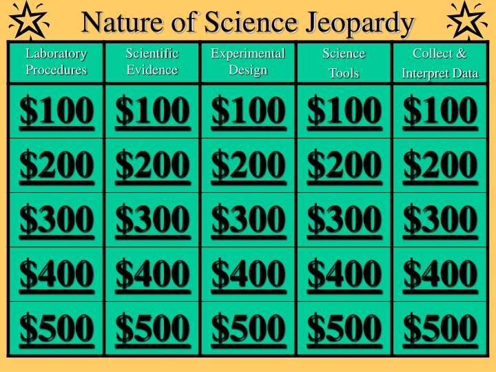Nature of science jeopardy