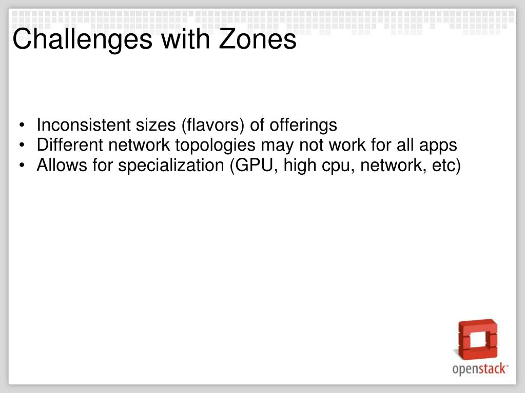 Challenges with Zones
