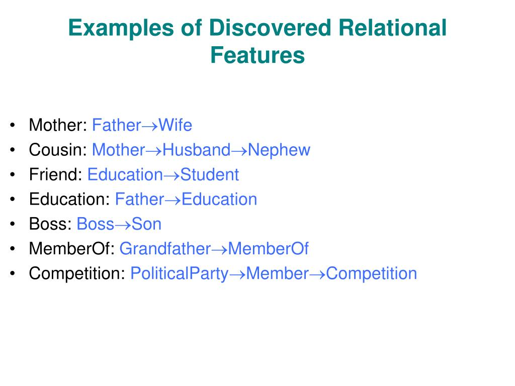 Examples of Discovered Relational Features