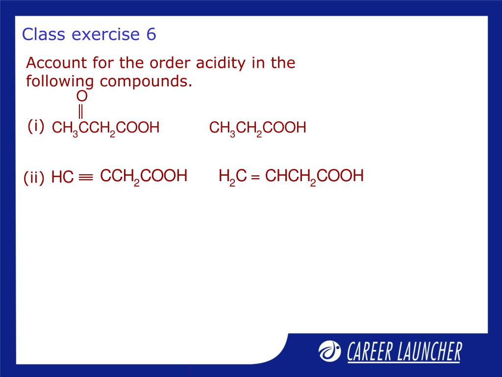 Account for the order acidity in the following compounds.