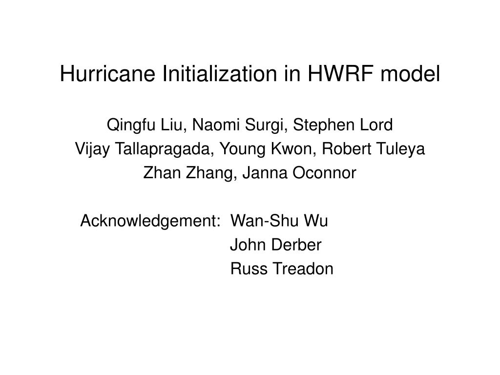 hurricane initialization in hwrf model