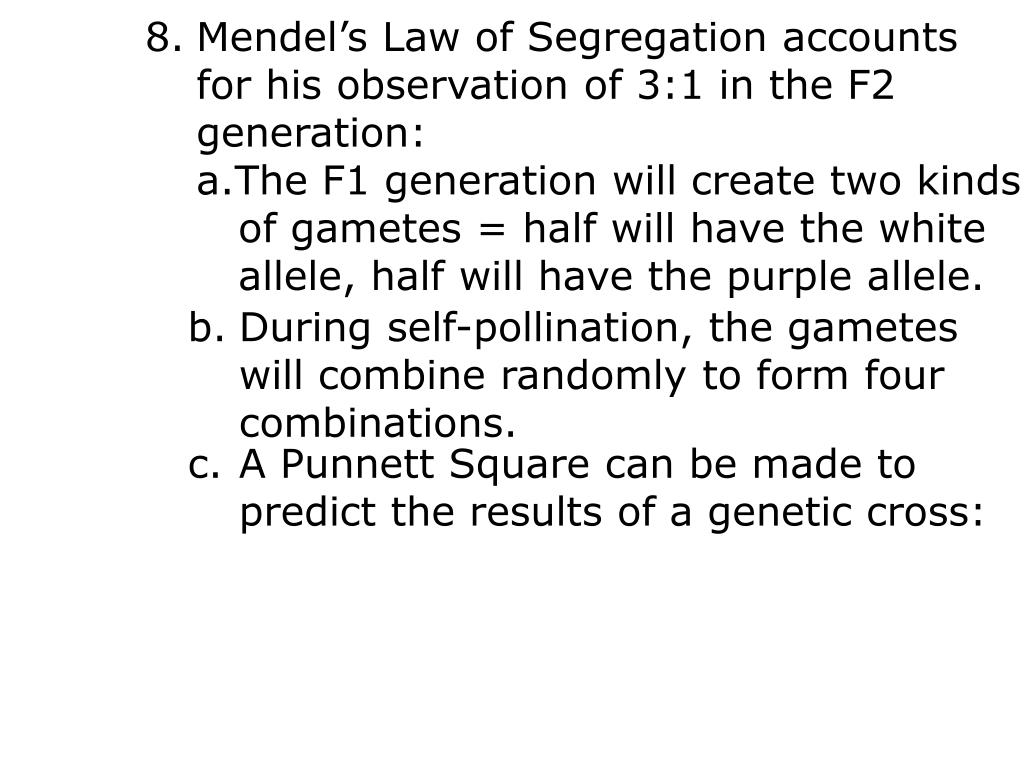 Mendel's Law of Segregation accounts