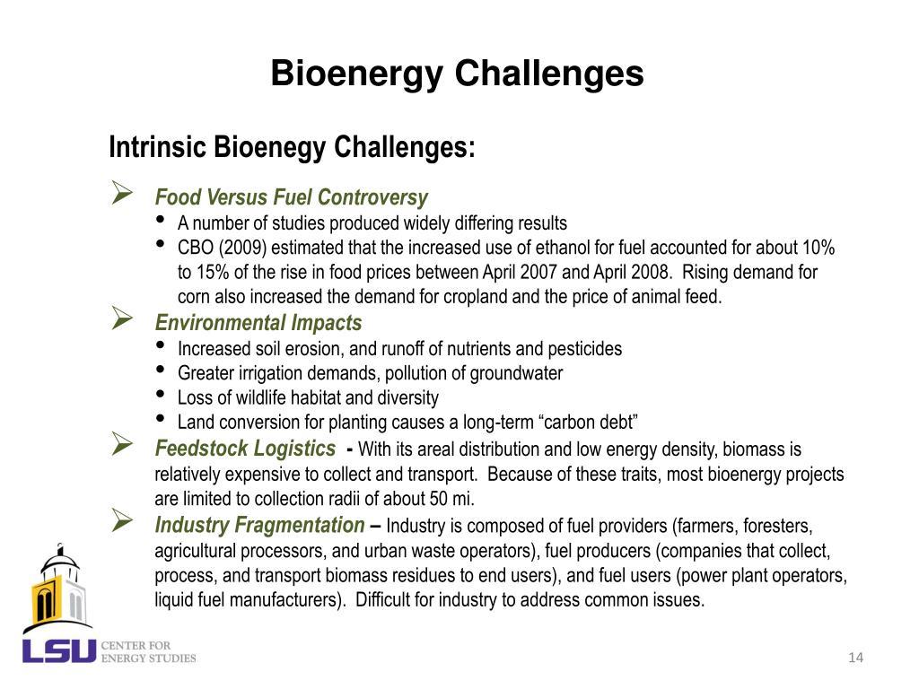 Bioenergy Challenges