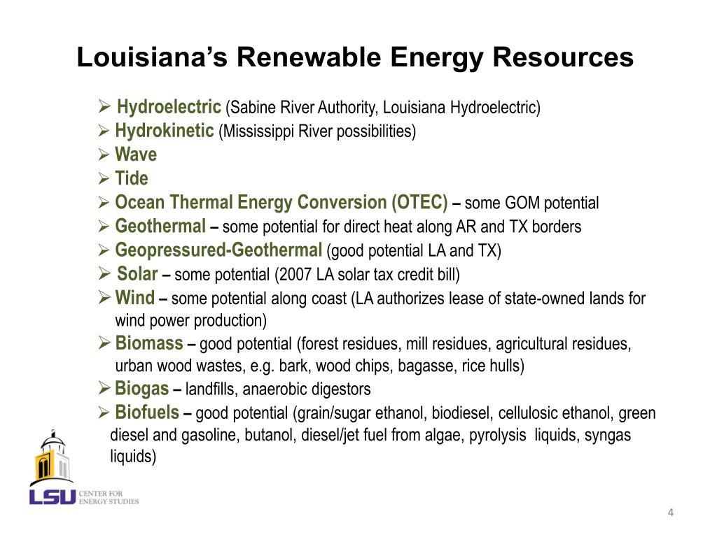 Louisiana's Renewable Energy Resources