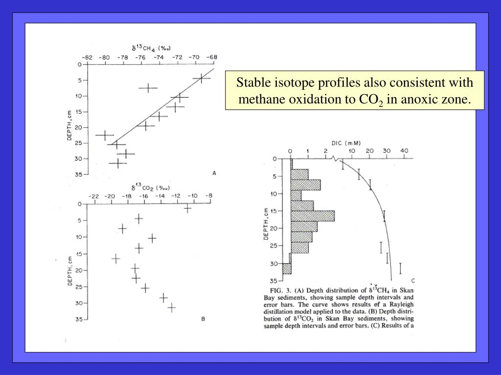 Stable isotope profiles also consistent with methane oxidation to CO