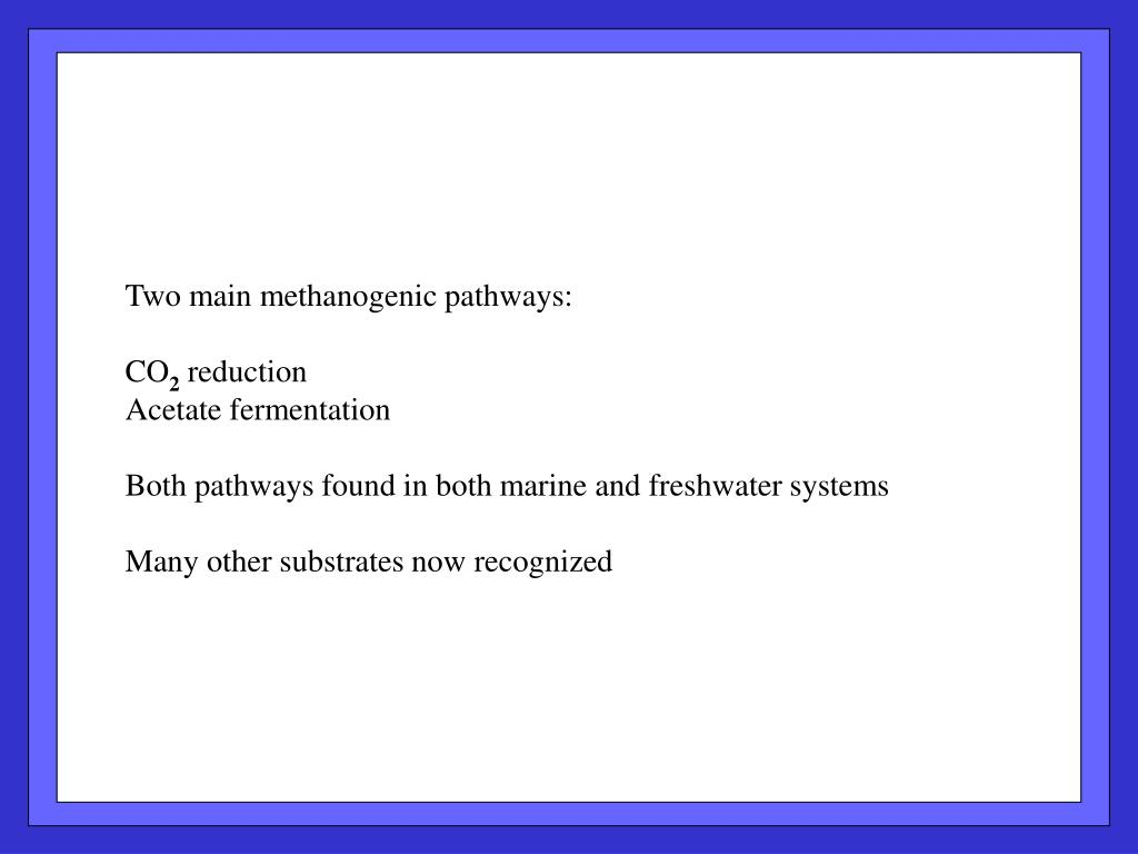 Two main methanogenic pathways: