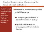 student experiences sharpening the focus at each institution