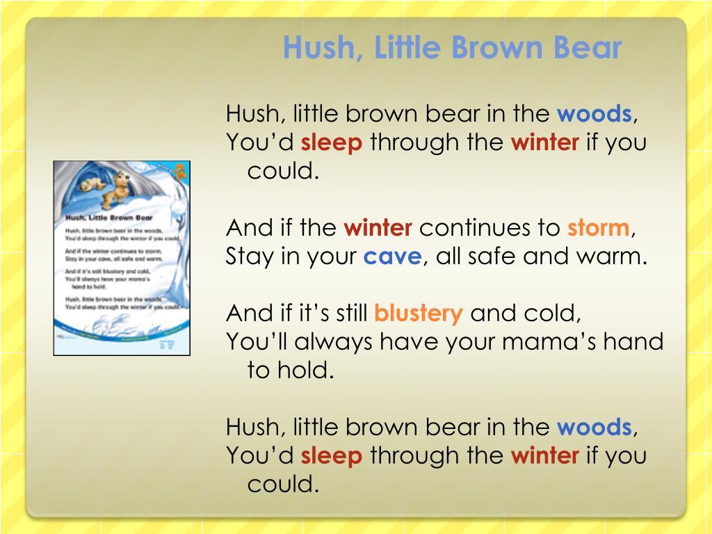 Hush, Little Brown Bear