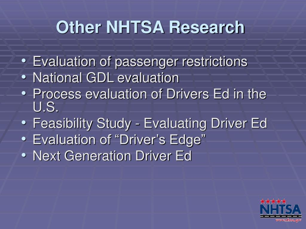 Other NHTSA Research
