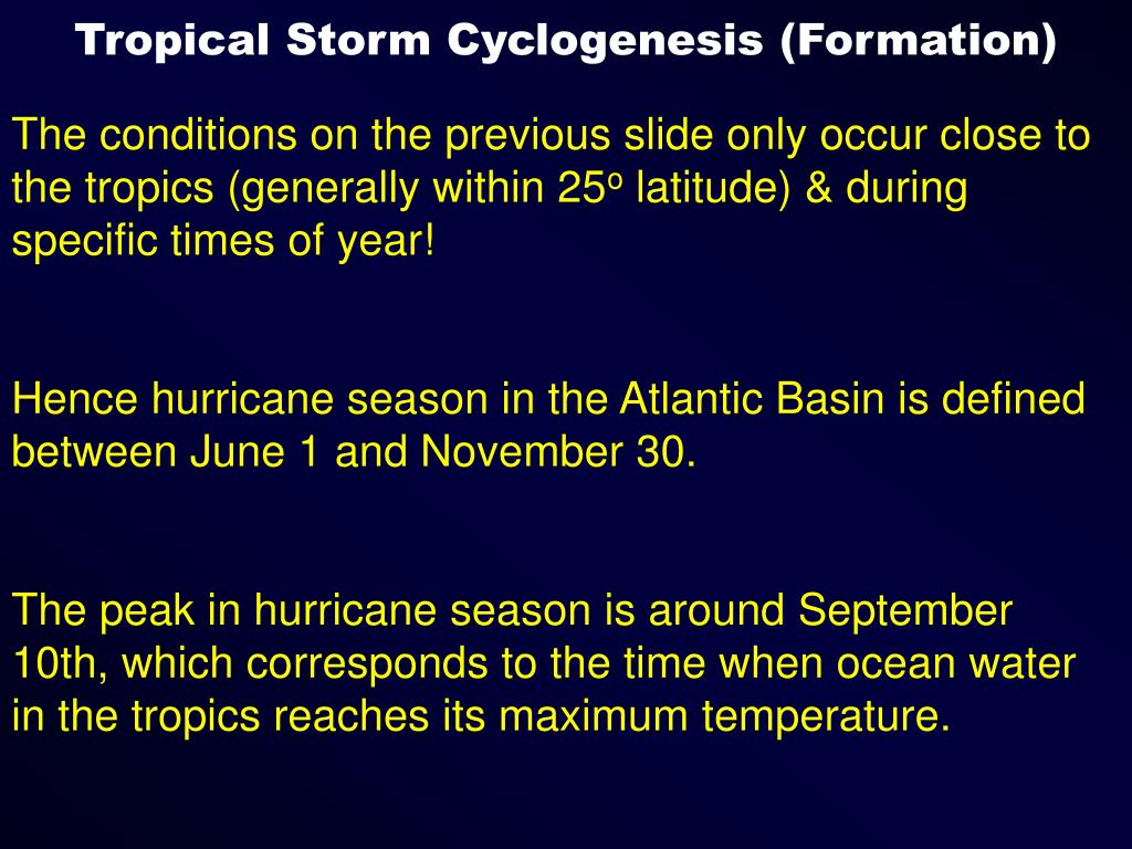 Tropical Storm Cyclogenesis (Formation)