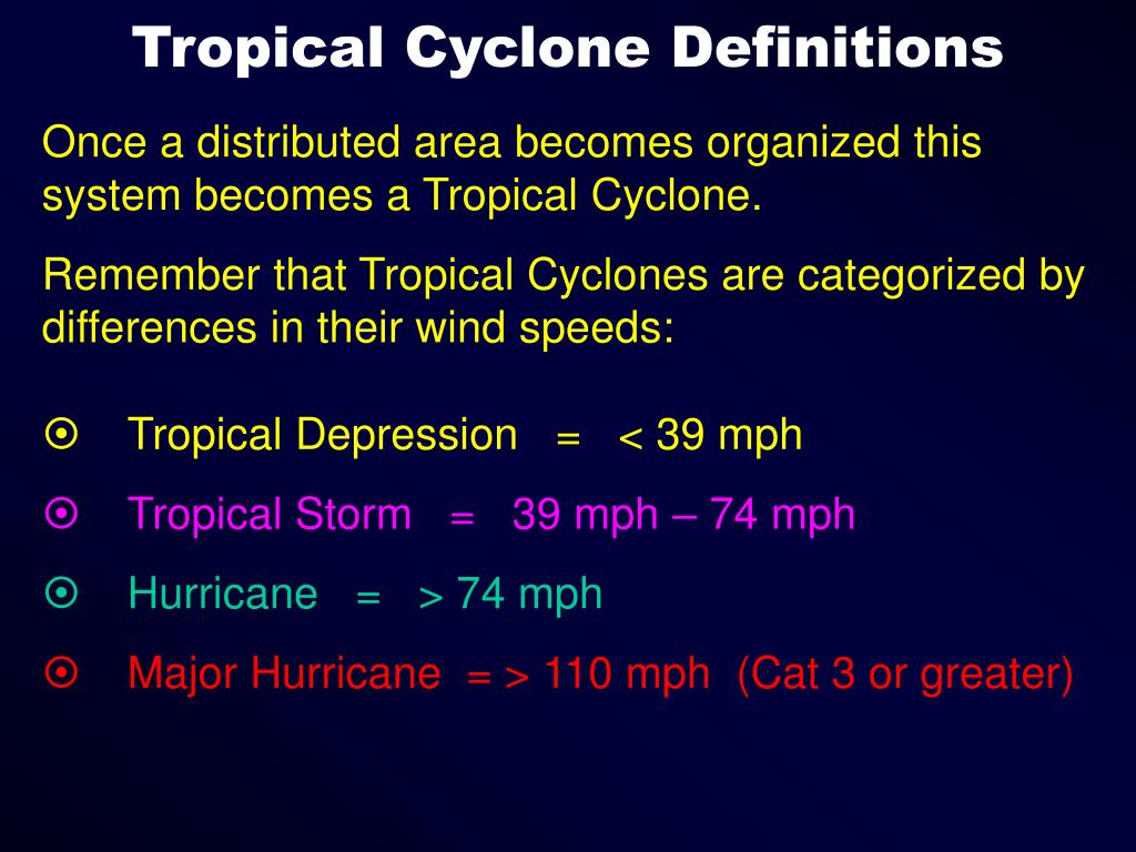 Tropical Cyclone Definitions