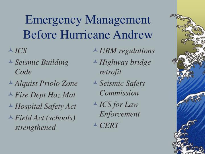 Emergency management before hurricane andrew