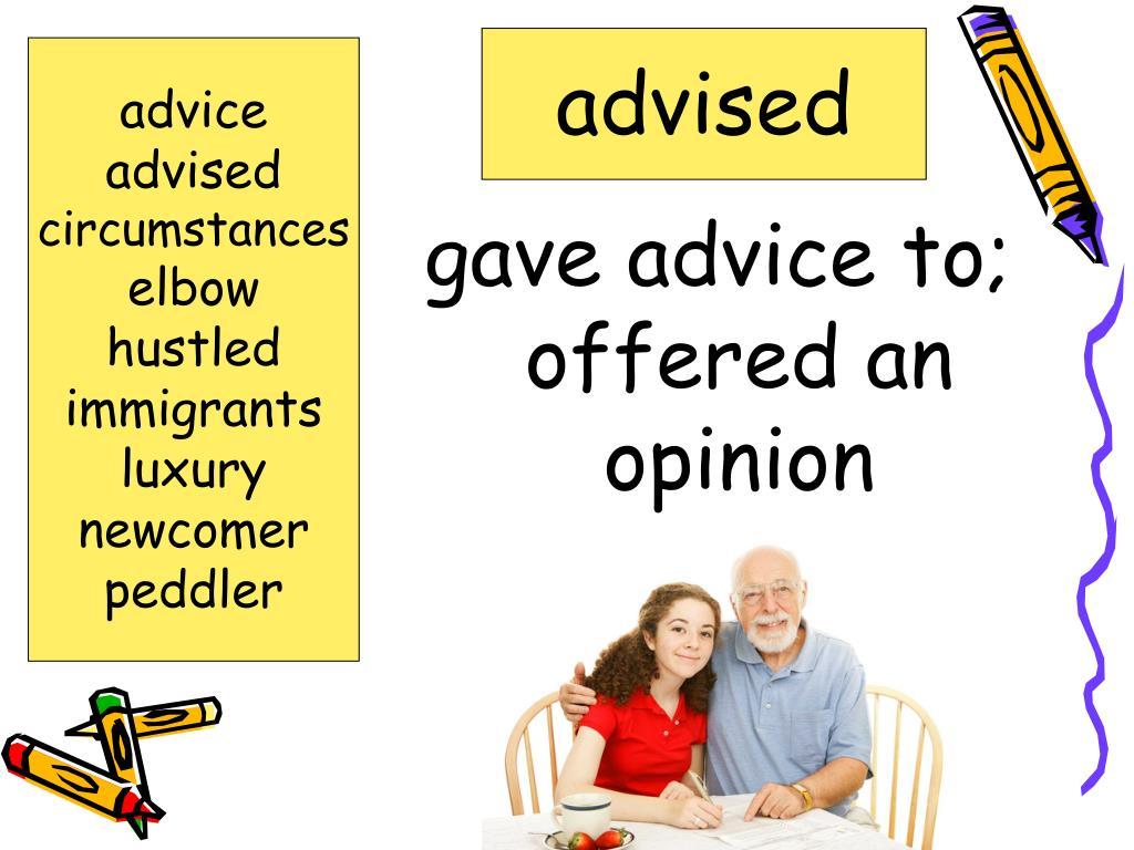 advised