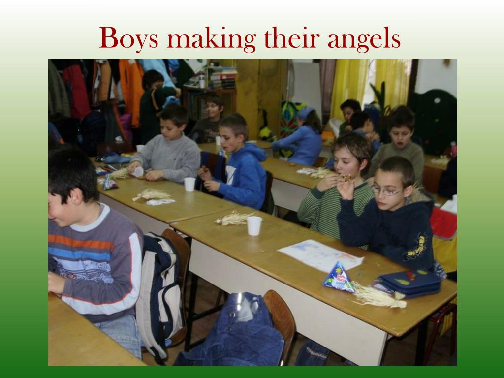 Boys making their angels