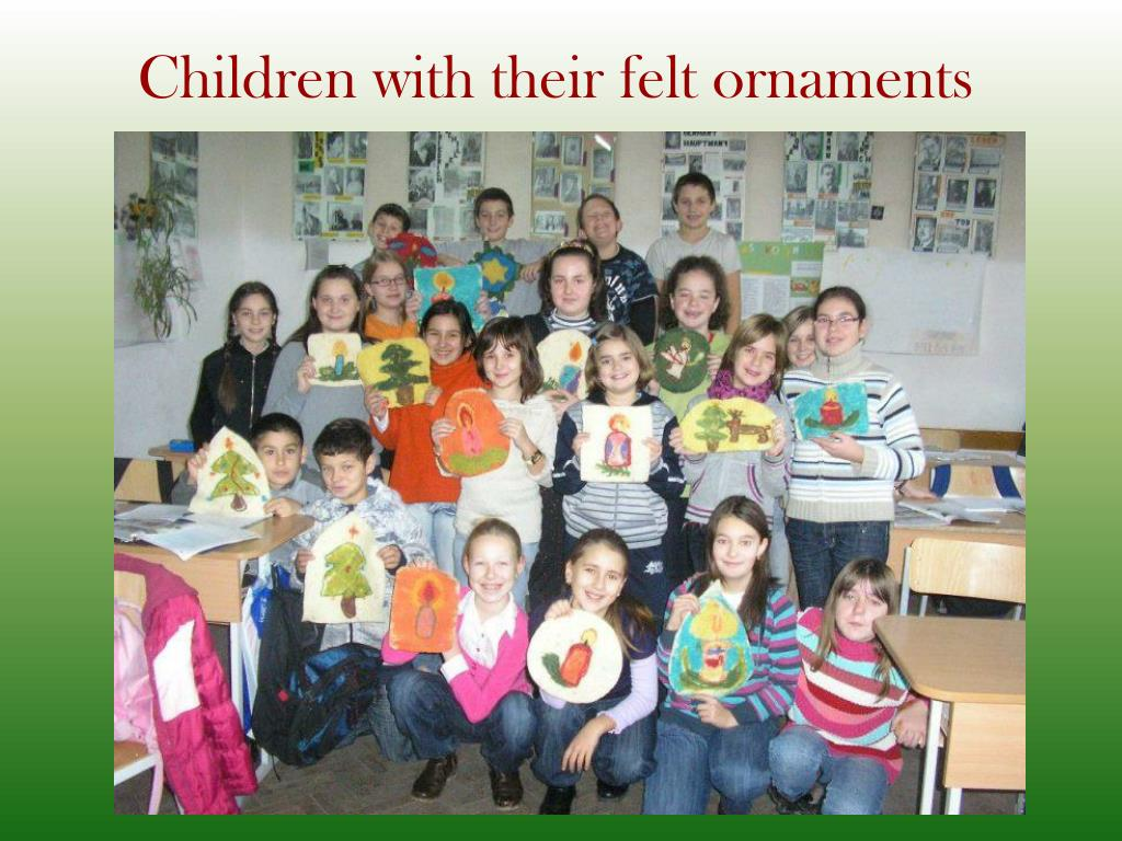 Children with their felt ornaments