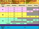 what is the duration of the fcat fcat 2 0 eoc in minutes