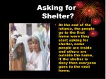 asking for shelter