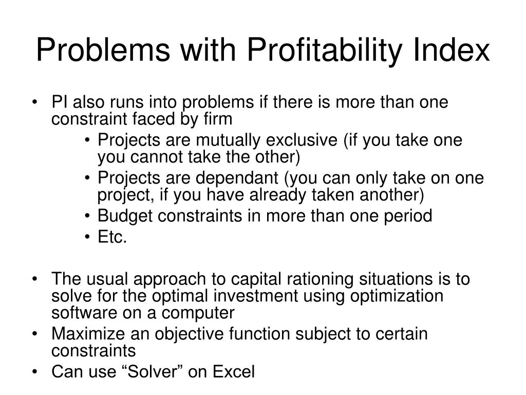Problems with Profitability Index